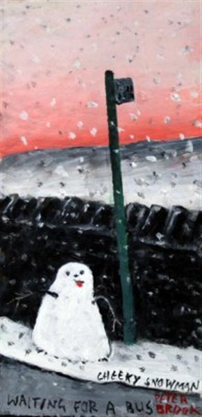 cheeky snowman Waiting for a bus By peter Brook